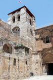 Corner tower at the entrance to the Church of the Holy Sepulchre  in the old city of Jerusalem, Israel. Royalty Free Stock Photo