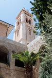 Corner tower of the Evangelical  Lutheran Church of the Redeemer in the old city of Jerusalem, Israel. Royalty Free Stock Photo