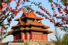 The corner tower of the forbidden city Stock Image