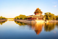 Corner tower of Imperial Palace in the sunse Royalty Free Stock Image