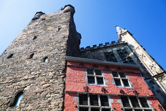 Corner tower of the medieval town hall in Aachen Royalty Free Stock Photos