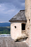 Corner tower of Niedzica Castle, Poland. Top of the round corner tower of medieval castle in Niedzica, Poland royalty free stock photography