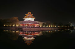 The corner tower of the Palace Museum. (Forbidden City) Beijing at night stock photo