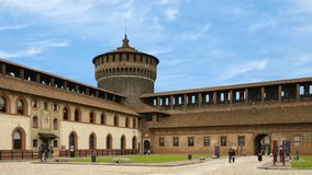 Free Corner Tower, Sforza Castle  In Milan, Italy Stock Image - 151945851