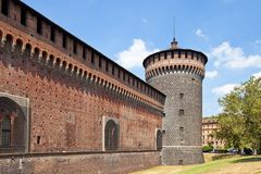 Corner tower of Sforza Castle (XV c.). Milan, Italy. �orner tower of Sforza Castle (Castello Sforzesco, circa XV c.). Milan, Italy Royalty Free Stock Image