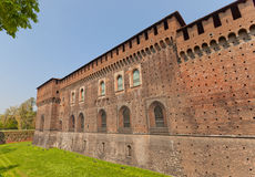 Corner Tower of Sforza Castle (XV c.) in Milan, Italy. Corner tower and walls of Sforza Castle (Castello Sforzesco, circa XV c.) in Milan, Italy. View from Gadio stock photography