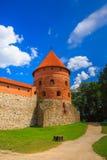 Corner tower of the Trakai Island Castle stock image