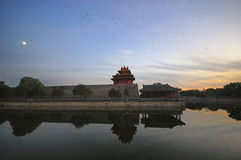 Corner towers of the Forbidden City. The reflection of Corner towers in the Forbidden City Royalty Free Stock Photography