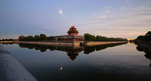 Corner towers of the Forbidden City. The reflection of Corner towers in the Forbidden City Stock Image