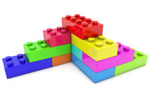 Corner of toy bricks in various colors Royalty Free Stock Photography