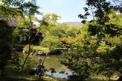 Corner of traditional courtyard in Japan royalty free stock photos