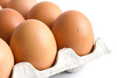 Corner of a tray of eggs Royalty Free Stock Photography