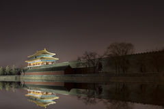 Corner turret of the Forbidden City at night. Beijing, China Stock Images
