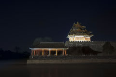 Corner turret of the Forbidden City at night. Beijing, China Stock Photo