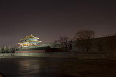 Corner turret of the Forbidden City at night. Beijing, China Royalty Free Stock Photo