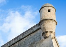 Corner Turret, Palma Walls. PALMA, MALLORCA. 23rd December 2017. Palma`s historic walls dominate the city`s skyline. The city is an attractive place to visit Royalty Free Stock Photography