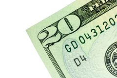 Corner of Twenty Dollar Bill Stock Image