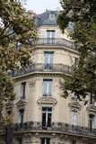 Corner of of typical house with balcony in Paris, Royalty Free Stock Photography
