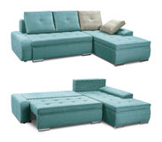 Corner upholstery sofa set with pillows isolated with clipping path Royalty Free Stock Images