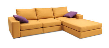 Corner upholstery sofa set with pillows isolated on white with clipping path Stock Photo