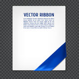 Corner vector ribbon. White card with blue corner silk ribbon, vector illustration Royalty Free Stock Photo