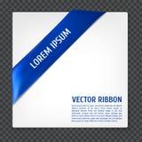 Corner vector ribbon. White card with blue corner silk ribbon, vector illustration Stock Images