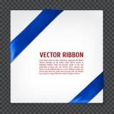 Corner vector ribbon. White card with blue corner silk ribbon, vector illustration Royalty Free Stock Images