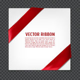 Corner vector ribbon. White card with red corner silk ribbon, vector illustration Stock Photography