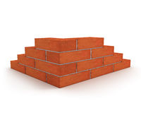 Corner of wall made from orange bricks isolated on Royalty Free Stock Image