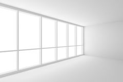 Corner of white empty business office room with large window. Business architecture white colorless office room interior - corner of white empty business office Stock Illustration