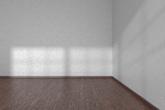 Corner of white empty room with dark parquet floor Stock Photos