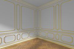 Corner of white empty room with gold molding and parquet Royalty Free Stock Image
