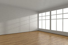 Corner of white empty room with large windows. And wooden parquet floor, 3D illustration Stock Photography