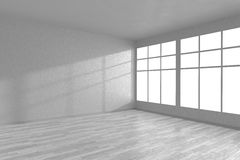 Corner of white empty room with large windows. Corner of white empty room with large windows and white wooden parquet floor, 3D illustration Stock Image
