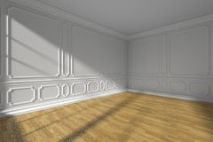 Corner in white empty room with molding and parquet floor. Corner in white empty room interior with sunlight from window, white decorative classic style molding Royalty Free Stock Photos