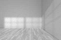 Corner of white empty room with white parquet floor Royalty Free Stock Photos