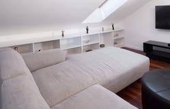 Corner white sofa Stock Image