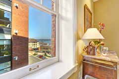Corner with window view and antique cabinet. Tacoma real estate, Royalty Free Stock Image