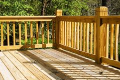 Corner of a wood deck Royalty Free Stock Image