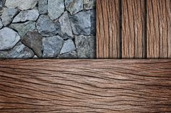 Corner wooden floor with stone Royalty Free Stock Photography