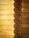 The corner of a wooden house Stock Images