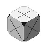 Cornered Cube Grey Multiply and Plus Faced. Gray Cube with Dark Cornered Stock Image