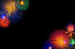 Cornered fireworks. Fireworks in the corners Royalty Free Stock Image