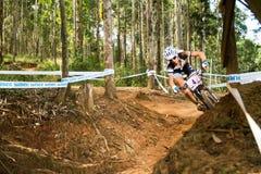 Cornering on a berm. PIETERMARITZBURG, SOUTH AFRICA - APRIL 13 2014: Jolanda Neff (LIV PRO XC TEAM) During racing of Round 1 UCI MTB World Cup held at Cascades Royalty Free Stock Photo