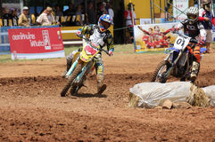 Cornering Motocross Motorcycle Stock Photo