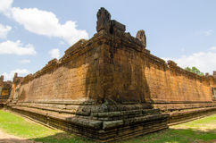 Corners of Banteay Samre, centre wall corner going away symmetry Royalty Free Stock Photography