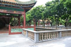 Corners of Chinese classical gardens. Pavilions, goldfish ponds, wooden pavilions, long corridors, ancient stone tables, stone stools stock images
