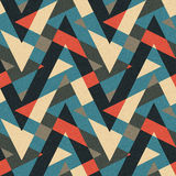 Corners ornament. Abstract geometric ornament printed on textured striped fabric background. Seamless pattern Stock Images