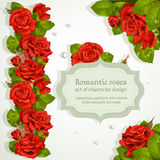 Corners and repeating garland from red roses Royalty Free Stock Images