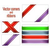 Corners and ribbons. Stock Photos